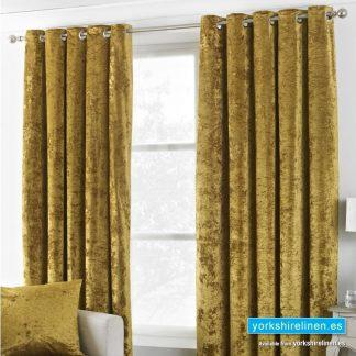 Verona Crushed Velvet Ring Top Curtains Ochre, Yorkshire Linen, Mijas Costa, Marbella, Spain
