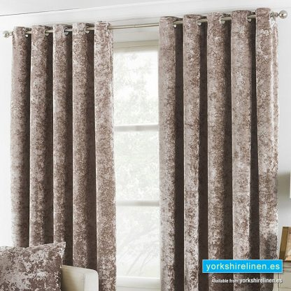 Verona Crushed Velvet Ring Top Curtains Oyster, Yorkshire Linen, Mijas Costa, Marbella, Spain 2
