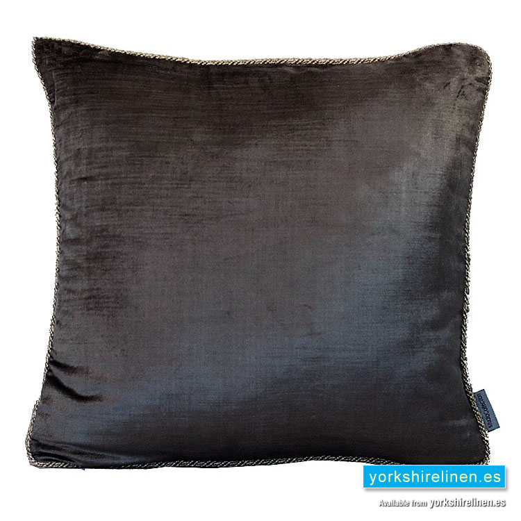 Corded Velvet Feather Filled Cushion Slate Grey