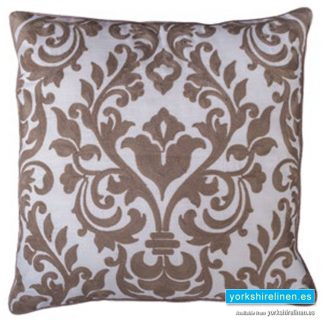 Laran Beige Jacquard Cushion - Yorkshire Linen Warehouse, Mijas Costa, Marbella