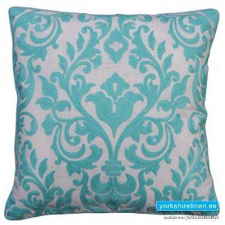 Laran Turquoise Jacquard Cushion - Yorkshire Linen Warehouse, Mijas Costa, Marbella