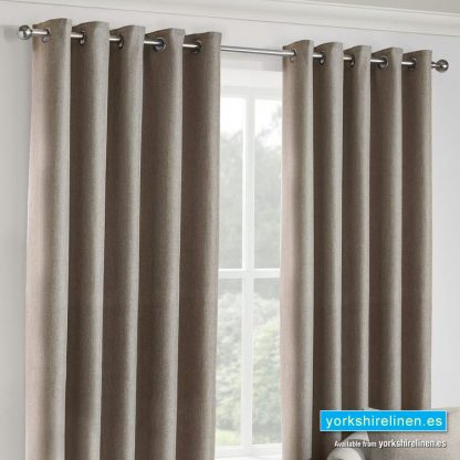 Versailles Oatmeal Ring Top Curtains Huxley Silver Ring-Top Curtains from Yorkshire Linen Warehouse, Mijas Costa, Marbella