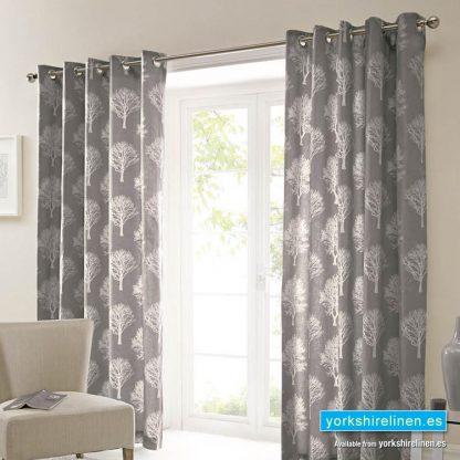 Woodland Tree Charcoal Ring Top Curtains from Yorkshire Linen Warehouse, Mijas Costa, Marbella