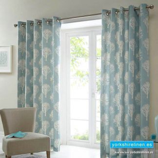 Woodland Tree Duck Egg Ring Top Curtains from Yorkshire Linen Warehouse, Mijas Costa, Marbella