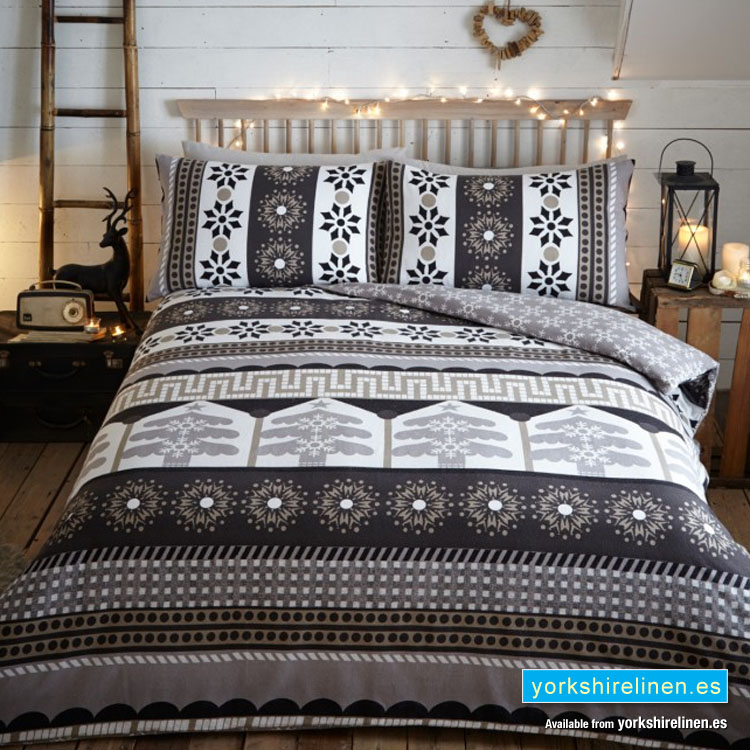 Aspen Flannelette Duvet Cover Set Charcoal Yorkshire Linen