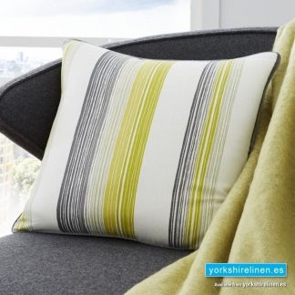 Rydell Stripe Cushion Lime Yorkshire Linen Warehouse