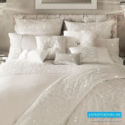 Kylie Minogue Darcey Oyster Duvet Cover and Accessories from Yorkshire Linen Warehouse