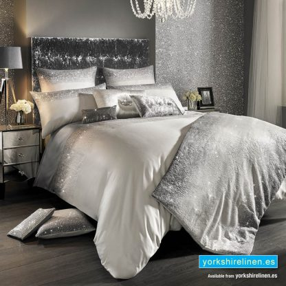 Kylie Minogue Glitter Fade Silver Duvet Cover from Yorkshire Linen Warehouse