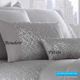 Shimmer Silver Petite Cushion Petite and Boudoir from Yorkshire Linen Warehouse, Spain