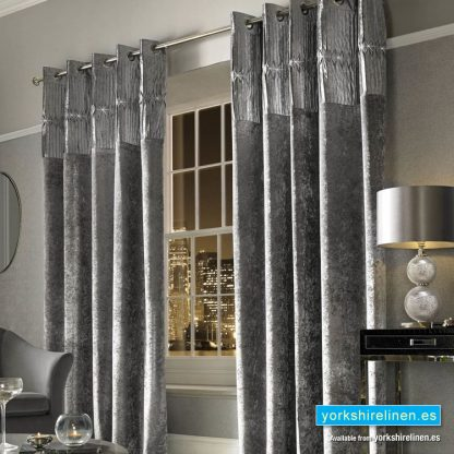 Kylie Minogue Veda Silver Ring Top Curtains - Yorkshire Linen Warehouse