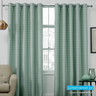 Phoenix Jacquard Duck Egg Interlined Ring Top Curtains - Yorkshire Linen Warehouse