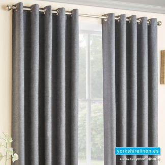 Vogue Grey Ring Top Blackout Curtains - Yorkshire Linen Warehouse