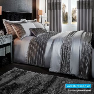 Corded Velvet Silver Duvet Cover Set