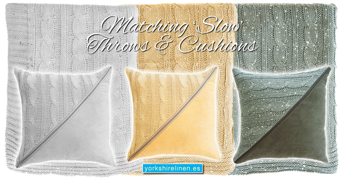 Matching Slow Throws and Cushions from Yorkshire Linen Warehouse, Mijas & Marbella