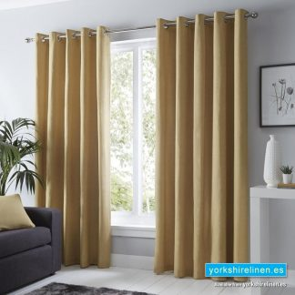 Sorbonne Ochre Ring Top Curtains - Yorkshire Linen Warehouse
