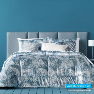 Tropical Palm Bedspread, Silver Teal