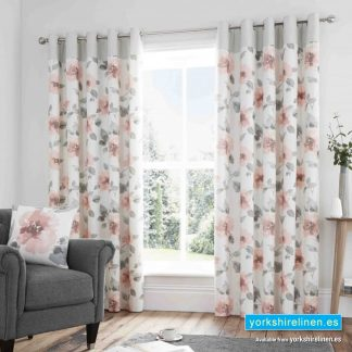Adriana Floral Blush Ring Top Curtains - Yorkshire Linen Warehouse Mijas Prestige Marbella