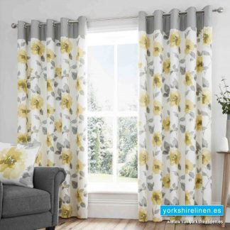 Adriana Floral Ochre Ring Top Curtains - Yorkshire Linen Warehouse Mijas Prestige Marbella