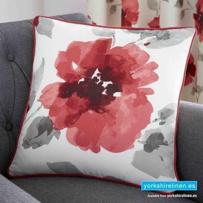 Adriana Floral Red Cushion - Yorkshire Linen Warehouse Mijas Prestige Marbella