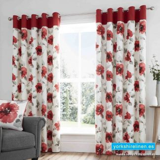 Adriana Floral Red Ring Top Curtains - Yorkshire Linen Warehouse Mijas Prestige Marbella