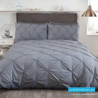 Balmoral Ruched Silver Duvet Cover Set - Yorkshire Linen Warehouse Mijas Prestige Marbella