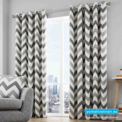 Chevron Grey Ring Top Curtains - Yorkshire Linen Warehouse Mijas Prestige Marbella