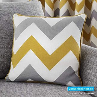 Chevron Ochre Cushion - Yorkshire Linen Warehouse Mijas Prestige Marbella