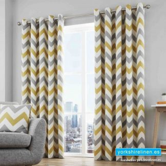 Chevron Ochre Ring Top Curtains - Yorkshire Linen Warehouse Mijas Prestige Marbella