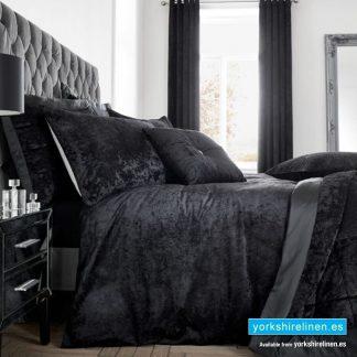 Crushed Velvet Black Bedspread