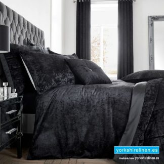 Crushed Velvet Black Duvet Cover - Yorkshire Linen Warehouse Mijas Marbella Spain