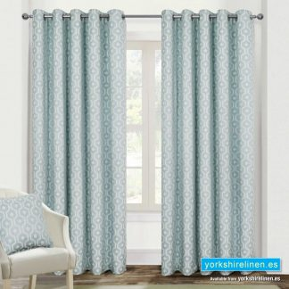 Milano Duck Egg Ring Top Curtains - Yorkshire Linen Warehouse Mijas Prestige Marbella