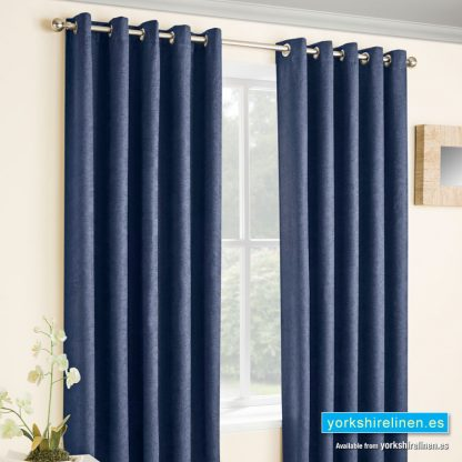 Vogue Navy Blackout Eyelet Curtains - Yorkshire Linen Warehouse Mijas Prestige Marbella