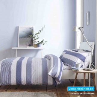 Catherine Lansfield Newquay Stripe Blue Duvet Cover Set - Yorkshire Linen Warehouse Mijas Marbella