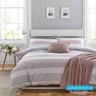 Catherine Lansfield Newquay Stripe Blush Duvet Cover Set - Yorkshire Linen Warehouse Mijas Marbella
