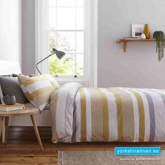 Catherine Lansfield Newquay Stripe Ochre Duvet Cover Set - Yorkshire Linen Warehouse Mijas Marbella