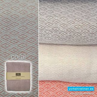 Mumbay Throw, Coral - Yorkshire Linen Warehouse Mijas Marbella P03