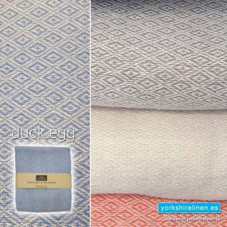 Mumbay Throw, Duck Egg Blue - Yorkshire Linen Warehouse Mijas Marbella P03