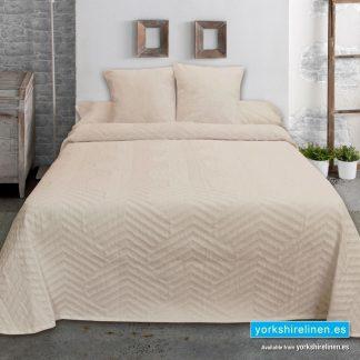 New Espiga Jacquard Bedspread, Beige - Yorkshire Linen Warehouse Mijas Marbella P02