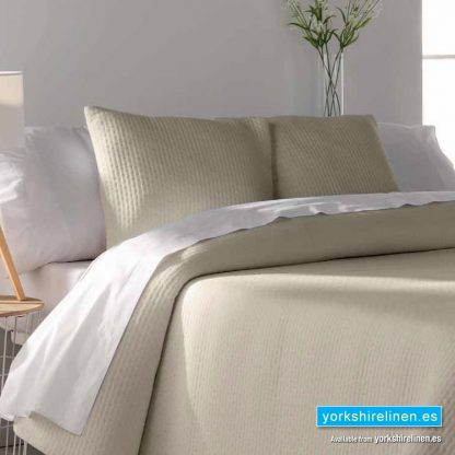 Tarifa Jacquard Bedspread, Beige - Yorkshire Linen Warehouse Mijas Marbella P02