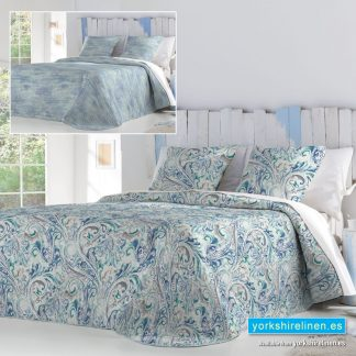 Avis Paisley Bedspread Blue Yorkshire Linen Warehouse Mijas Marbella Spain P01