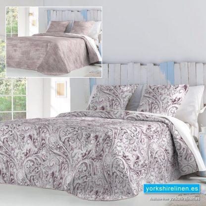 Avis Paisley Bedspread Mauve Yorkshire Linen Warehouse Mijas Marbella Spain P01
