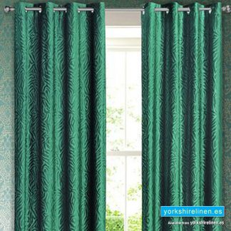 Bottle Green Zebra Print Curtain Panel Yorkshire Linen Warehouse Mijas Marbella Spain P01