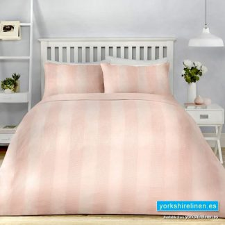 Waffle Stripe Duvet Cover Set Blush Yorkshire Linen Warehouse Mijas Marbella Spain P01