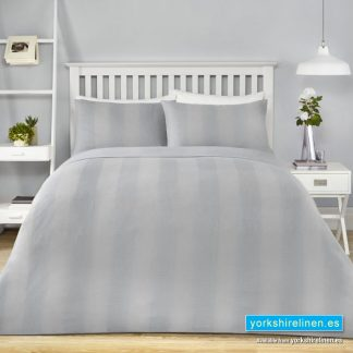 Waffle Stripe Duvet Cover Set Silver Yorkshire Linen Warehouse Mijas Marbella Spain P01