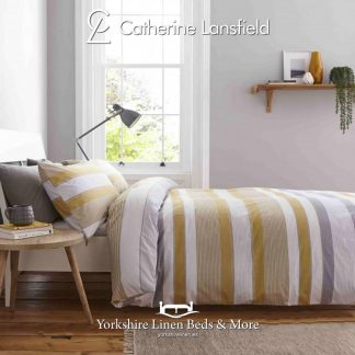 Catherine-Lansfield-Newquay-Stripe-Ochre-Duvet-Cover-Set-Yorkshire-Linen-Warehouse-Mijas-Marbella copy
