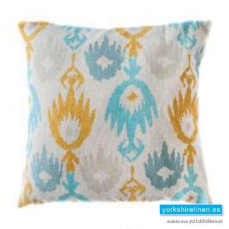 Jackson Duck Egg Mustard Cushion Cover Yorkshire Linen Warehouse Mijas Marbella Spain P01