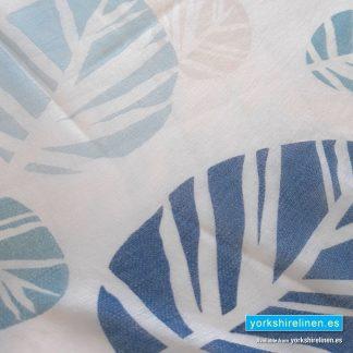 Scandi Leaf Blue Curtain Panel Yorkshire Linen Warehouse Mijas Marbella Spain P01