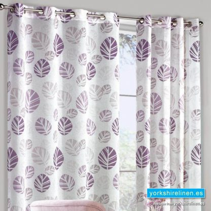 Scandi Leaf Mulberry Curtain Panel Yorkshire Linen Warehouse Mijas Marbella Spain P01