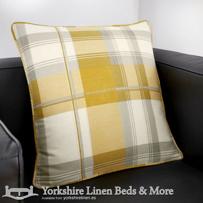 Balmoral Ochre Cushion Cover Yorkshire Linen Warehouse Beds & More Mijas Marbella Spain P01