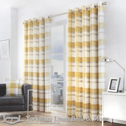 Balmoral Ochre Ring Top Curtains Yorkshire Linen Warehouse Beds & More Mijas Marbella Spain P01